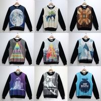 New 2015 Brand Pullovers Sweatshirt For Men Starry Sky Print Animal Earth 3D Hoodies Sweatshirts Geometry Sweat Top Hoody Woman