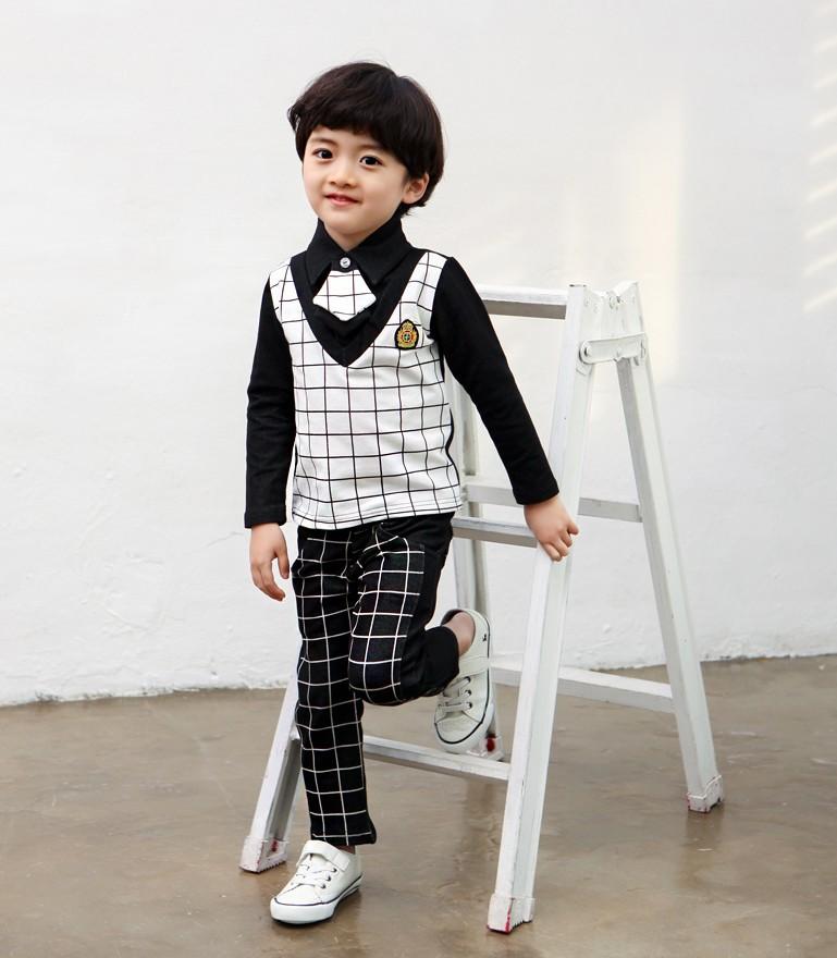 Venda quente crianças conjuntos de roupas de outono academy vento meninos gravata cavalheiro 3 pcs define crianças coreanas xadrez de manga comprida outfits GX592(China (Mainland))