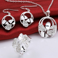 LKNSPCS787 New Statement 925 Sterling Silver Classic Crystal Party Jewelry Sets ( Rings+ Pendant Chain Necklaces+Earrings )
