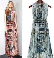 2015 Summer New European And American Fashion Printing Large Size Bohemian Dress Sleeveless Dress  xjh382