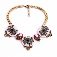 Big Pink Resin Pendant Statement Bib Necklace New Year Gift India Jewelry Bijuterias