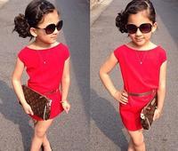 2015 New Fashion Girls Dress Summer:Solid Color Little Girls Dresses Baby Costumes Cotton Red Dress,roupas infantil meninas