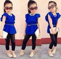 2015 New Girls Summer Sets:OL Puff Sleeve T-shirt+Black Leggings 2 Piece Sets 2-8 yrs Baby Girl Casual Dress Children Clothing