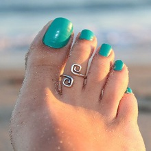 Women Lady Unique Retro Silver Plated Nice Toe Ring Foot Beach Jewelry New