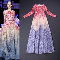 2015 high quality runway flower petal print floor length long sleeve gradient color boutique evening dress free shipping