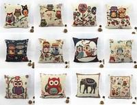 45*45cm Hot The Owl And Bird Cotton Linen Cushion Cover High Quality Pillowcase Throw Pillow Cover Almofadas decorativas
