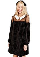 New 2015 Spring Dress Women Fashion Lace Dresses Plus Size Long Sleeve Peter pan Collar wave point grid Splice princess dress