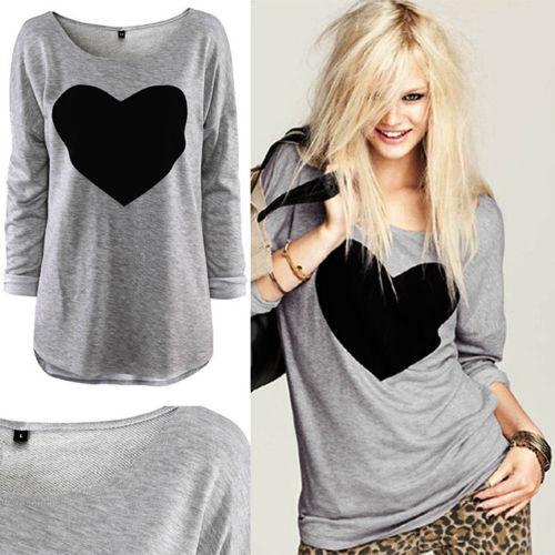 2015 Hot Fashion Women Lady Casual Style Love Heart Printed Round Neck Roupas Femininas Long Sleeve T-shirt Tops Shirt Tees(China (Mainland))