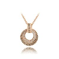 2015 New Design Vintage Style Genuine Austria Crystal Antique Real Rose Gold Circle Sliding Pendant Necklace