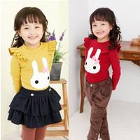 Toddler Kid Girl Casual Lace Long Sleeve T-shirt Cute Rabbit Baby Tee Shirt Tops  Free Shipping