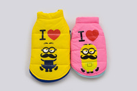 Good Quality Pink or Yellow MinionsCute Winter Dog Pet Clothing Jacket Fourlegs Coat