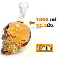 3 pcs/lot 1000ml Skull Bottle Crystal glass Head wine Vodka Bottle