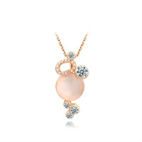 Exquisite Princess Brand Jewelry, 18K Rose Gold Pendant Big Natural Opal Stone Women Sweater Necklace