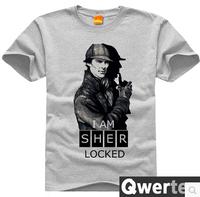 Free Shipping Men Cotton Sherlock TShirt Cute Gray England Sherlock Tees For Men & Women