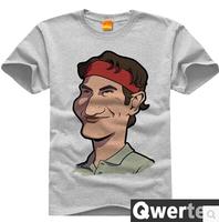 Free Shipping Men Cotton Roger Federer TShirt Cute Gray Tennis Star Roger Federer Tees For Men & Women
