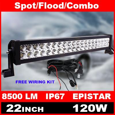 22 Inch 120W LED Light Bar + Wiring Kit for Indicators Work Driving Offroad Boat Car Truck 4x4 SUV ATV Fog Spot Flood Combo(China (Mainland))