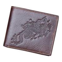 New fashoin Dragon Design Genuine leather Wallet Removable Driving license/Card Holder Vintage men brand  Purse