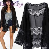 2015 New Women Spring Summer Tops Fashion Kimono Cardigan Lady Chiffon Lace Stitching Blouse Long Cardigan Coat Black PH2719
