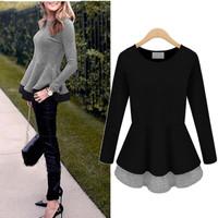 New 2014 Women Ladies Autumn Winter Slim Blusas Tops Fake Two-Piece Round Neck Long Sleeve Casual Blouse Plus Size XL-5XL
