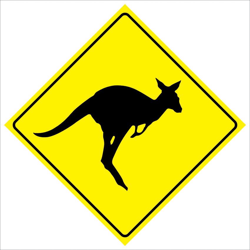 Pas183 кенгуру пересечения дорожного движения забавный безопасности предупреждение металлический знак 12