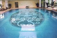 [Mius Art Mosaic]  Blue glass mosaic Swimming pool project blue glass mosaic E7039