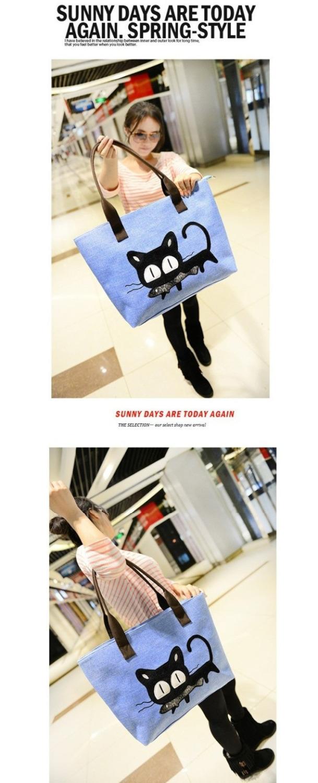 Women Handbag Fashion Casual Women Woven Canvas Bag Cute Cat Shopping Bag Office Lady Lunch Bag 7 Colors Free shipping(China (Mainland))