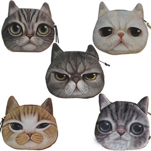 Novelty Girl 2015 Brand New Fashion Cartoon Cute Cat Face Zipper Case Coin Case Purse Wallet Makeup Buggy Bag Pouch(China (Mainland))