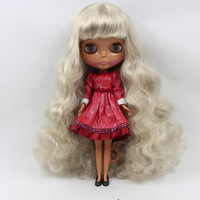 sliver gray long curly Hair Nude Doll Factory doll, black doll  Suitable For DIY Change BJD Toy For Girls