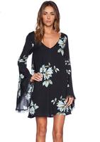 Women Dress Fashion Vestidos Flower Print Casual Dress Long Sleeve Lily printing back hollow out Lace dress vestido de renda