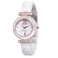 WEIQIN Luxury Brand Women Dress Rhinestone Decoration Waterproof Ceramic Bracelet Watches Hardlex Analog Quartz Movement Watch