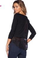 2015 Women T shirt Spring and Summer Black Lace Stitching Waist Back Zipper Women T-shirt Long Sleeve Shirt Women Dropship