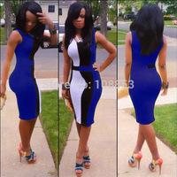 6 Colors S-XL Plus Size Women Summer Dress 2015 Sleeveless Patchwork Party Bandage Dress Sexy Club Bodyon Dress Clubwear P8003