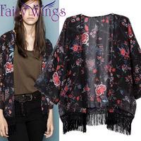 New 2015 Europe and United States Woman's Blouses Tassel Retro Print Cardigan Kimono Ladies Half Sleeve Chiffon Shirt PH2722