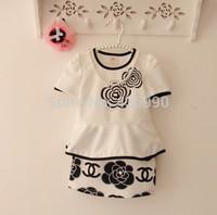 new 2015 children girls dress brand casual white baby dress 2~6 year flower dress kids summer clothes AQZ109