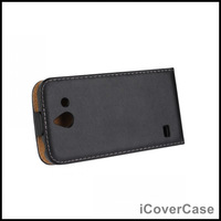 Vertical Flip Genuine Leather Cover Case for Huawei Ascend Y550