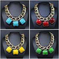 Fashion women double chain geometry big gemstone necklace collar accessories