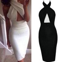 New 2014 Women Elegant Black Prom Dress Slim Hip Openwork Sexy Halter Pencil Dress Evening Party Dresses Bodycon Vestidos