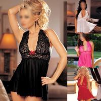 Hot Sexy Lace Sleepwear Lingerie G-string Underwear Nightwear Pajamas for Women Freeshipping