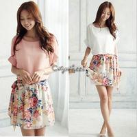 High Quality! 2014 New Women's Summer Chiffon Dress Patchwork Crewneck Short Sleeve Floral Casual Dress B-2084