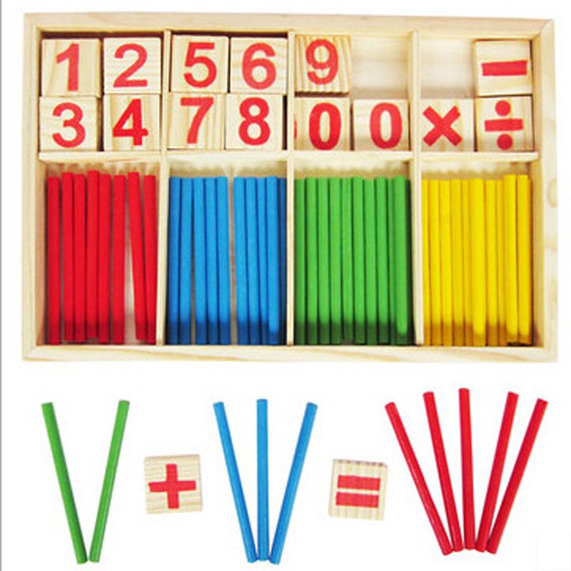 Baby Children Wooden Counting Math Game Mathematics Toys Kids Preschool Education Intelligence Stick Figures Box, Free Shipping(China (Mainland))