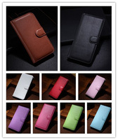 50pcs/lot luxury Litchi wallet leather cover case with card holder for Wiko Kite 4G