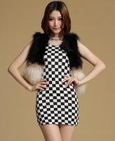 New Arrival Women Faux Fur Vest Coat 2015 Spring Autumn Hot sale Fashion High grade Top Quality fur coats V-neck Slim women vest