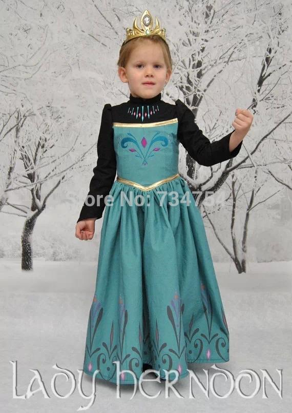 ... -Frozen-Retro-Anna-Dress-Long-SleevesEuropean-and-American-Style.jpg