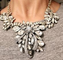 Promotion 2015 Big Brand Statement Crystal Choker Necklace Jewelry Hollow Noble Rhinestone Necklace 2 Option(China (Mainland))