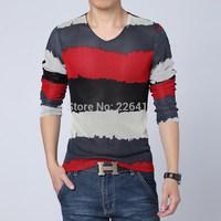 Men's autumn color block decoration V-neck long-sleeve tshirt gauze breathable t shirt men plus size M-5XL casual t shirt