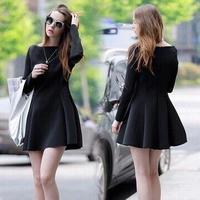 hot sale 2015 new Europe autumn winter women render vestidos black elegant Hepburn vintage slim solid base ball gown dress W270