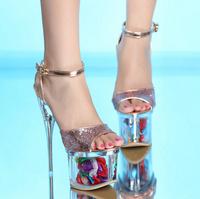 2015 Summer Sandals Women Pumps Clear Shining High Heels Flower 7.5cm Flatform Wedding Shoes Pumps Sapatos Femininos