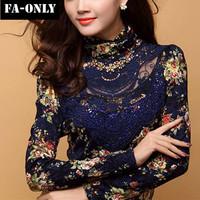 2015 New Elegant Fashion Women Tops Long Sleeve Embroidery Blouse Slim Plus Size Lace Shirt Women Free Shipping c1426