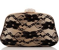2015 New Elegant Lace Floral Handbags Clutch Bag Vintage Diamond Clutch Evening Bag Dumplings Hard Case Chain Bag 3055