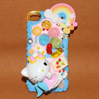 super cute blue lovely hello kitty cream phone protective shell for phone 6 6 plus case galaxy note 2/3/4 case